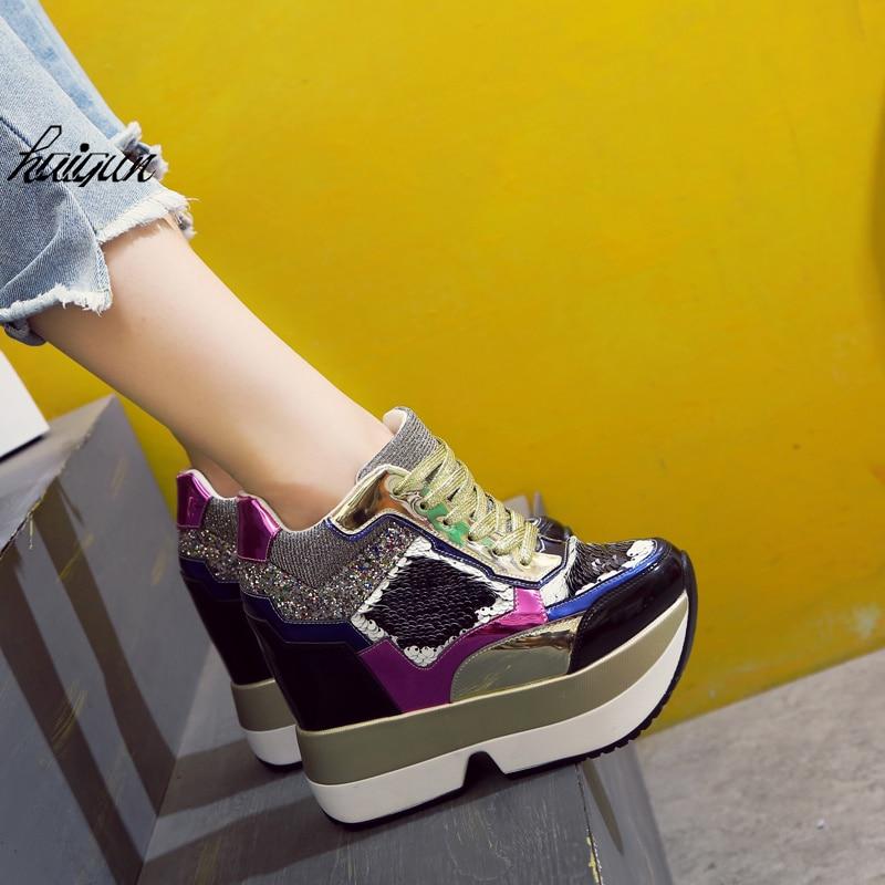 Adornado Envío Libre Lentejuelas De Cuña Zapatos 13 Cm Las 2018 Mujeres Tacón Bling Cuero Oculto Señoras plata Con Nuevo Talón Oro wqUUPT4