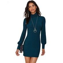 Водолазка сплошной вязаное платье Винтаж Bodycon короткое платье с длинными рукавами Для женщин Осень зимний свитер Обёрточная бумага Ретро Платья для женщин kc5d076