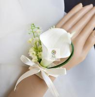 5Pcs/Set Brand New Wedding Party Prom Mother Bridesmaid Hand Wrist Flower Women Corsage Calla Lily Flower Hand Custom Made