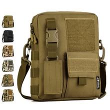 Men Camo Waterproof Vertical Messenger Bag Army Fans Tactical Shoulder Bag Outdoor Travel Commuter Package Extend Molle Bag K316