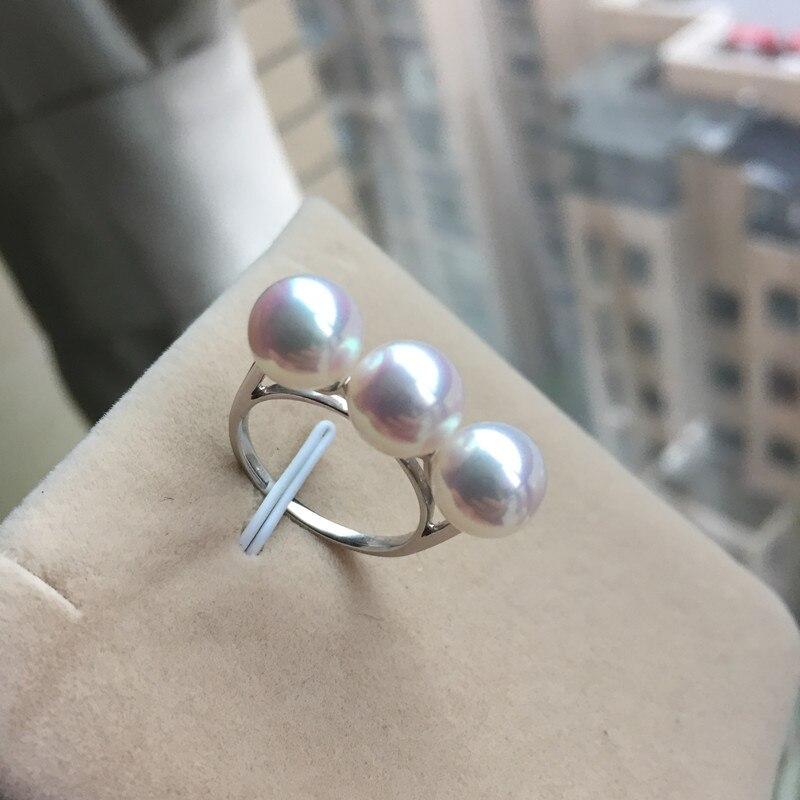 Éternel mariage femmes cadeau mot 925 Sterling réel japon Akoya permanent naturel eau de mer perle anneau trois perles ronde fl
