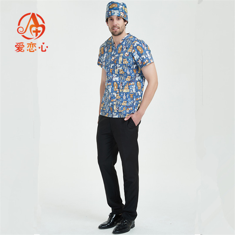 New Short Sleeved Women And Men Suits Blue Surgical Gowns Clothesbrush Hand Clothes Nurse Doctor Uniform-Ailianxin