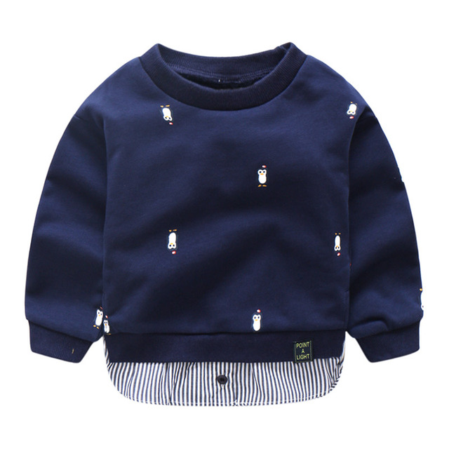 Long Sleeved Sweatshirt for Boys with Cute Penguin Designs