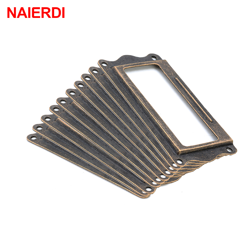 10pcs NAIERDI Antique Brass Handle 64*32mm Label Pull Frame Name Card Holder Cabinet Drawer Box Case Knob For Furniture Hardware 2016 hot 12pcs antique brass metal label pull frame handle file name card holder for furniture cabinet drawer box case bin e ch