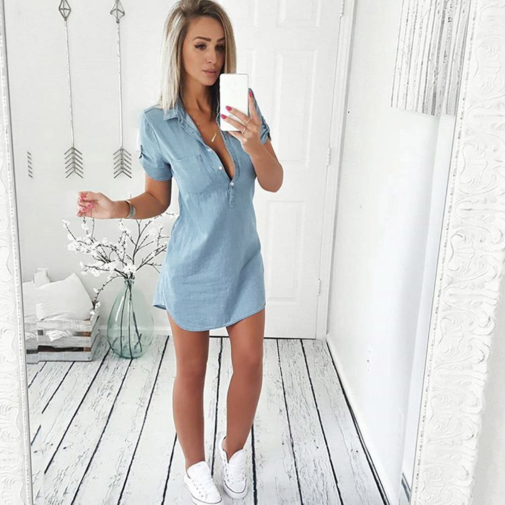 Faded Denim Comfy Short Sleeve Jeans Dress