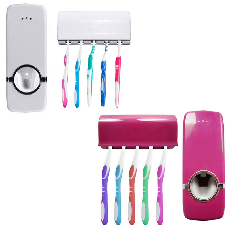 Automatic Toothpaste Dispenser + 5 Toothbrush Holder Set Wall Mount Stand toothbrush Family sets ZX071 все цены