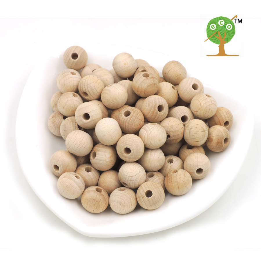 DIY Natural 15mm round BEECH WOODEN beads  smooth wood beads Teething necklace accessory ,100pcs Germany beech wood EA35