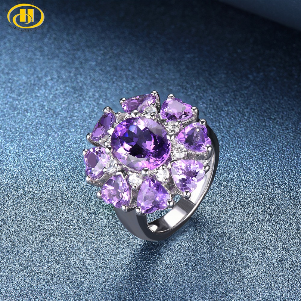 Hutang Engagement Ring Natural Gemstone Amethyst Topaz Solid 925 Sterling Silver Heart Fine Fashion Stone Jewelry For Gift New hutang engagement ring natural gemstone amethyst topaz solid 925 sterling silver heart fine fashion stone jewelry for gift new