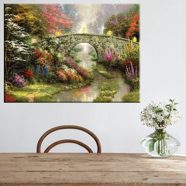 Ordinaire Unframed Stone Bridge Flowers Garden Still Water Landscape Painting Prints  On Canvas Home Decor Posters And