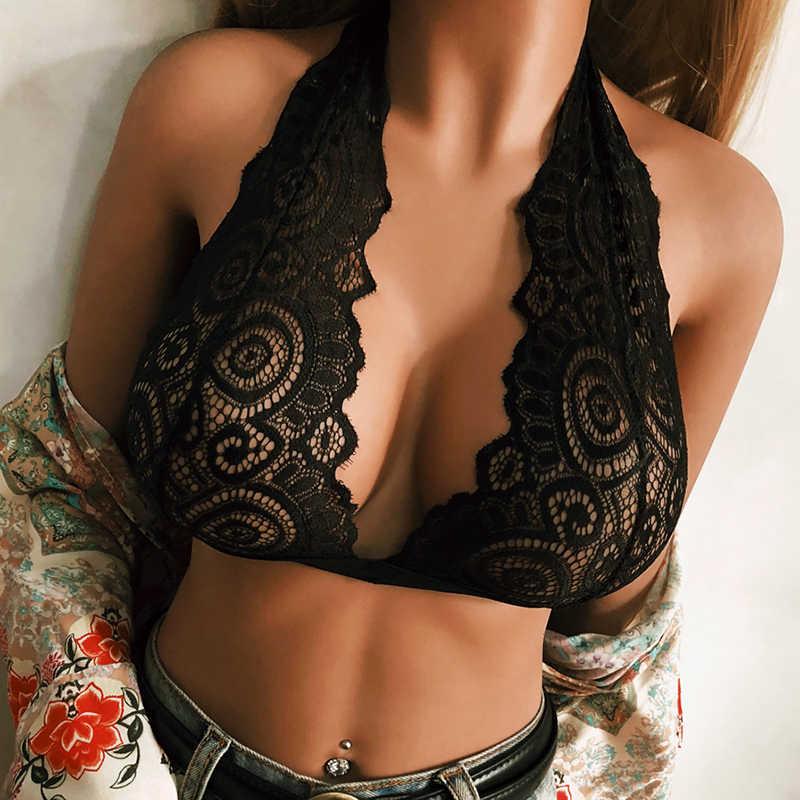 Fashion Plus Size Womens Bralette Elastic Bra Tight Tops Sexy Deep V-Neck Halter Push Up Hollow Lace Slim Ultrathin Bra  Summer