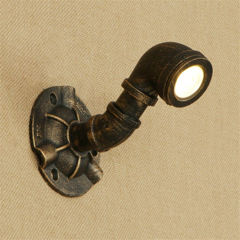 American Iron Water Pipe Lamp LED Wall Sconce Antique Loft Style Industrial Vintage Wall Light Fixtures Home Lighting Lampara
