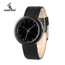 BOBO de AVES WI30 Relojes para Las Mujeres de Regalo De Madera De Madera Natural Reloj de Japón Movimiento de Cuarzo Relojes de Pulsera Correa de Cuero Negro