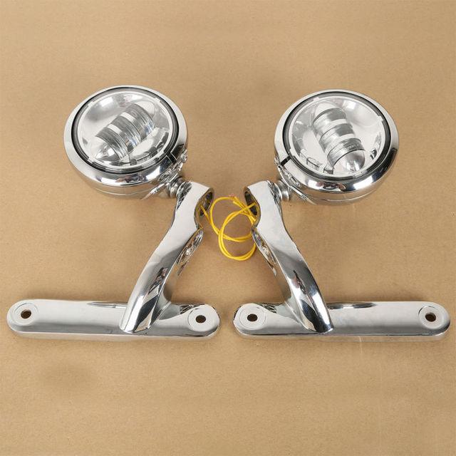 Phares auxiliaires anti-brouillard et supports pour motos 4.5 pouces LED, cadre Harley Street slide FLHX
