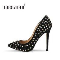 Женские туфли-лодочки на высоком каблуке украшенные заклепками черные женские туфли-лодочки на каблуке 12 см изящные женские свадебные туфл...