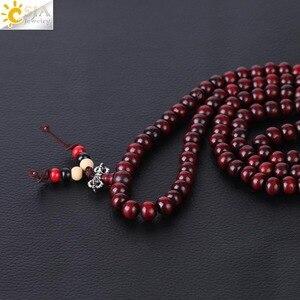 Image 3 - CSJA Religious 108 Mala Buddha Rosary Bracelet for Men 8mm Sandalwood Bead Prayer Jewelry Tibetan Wooden Bracelets Handmade S064