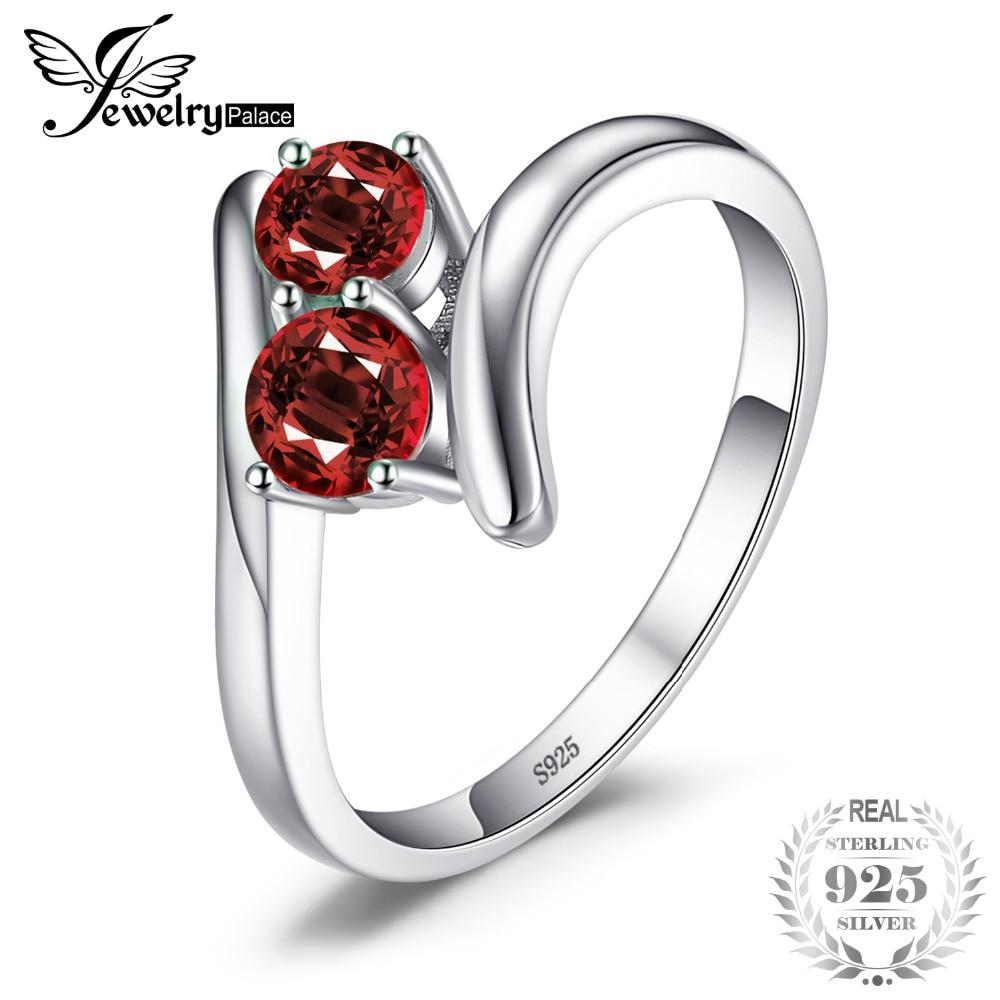 Jewelrypalace mode 0.95ct natürliche rote granat 2 stein hochzeit bands ringe für liebe 925 sterling silber runden ring edlen schmuck