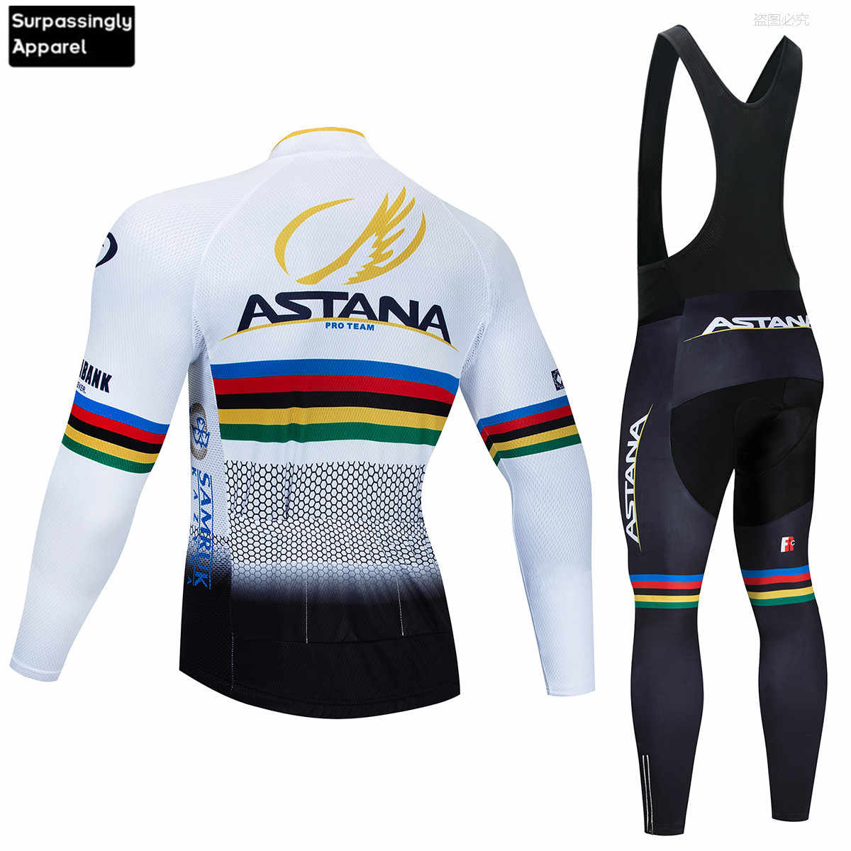 2019 ASTANA Jersey de Ciclismo para Hombre conjunto de manga larga MTB Ropa de bicicleta Maillot Ropa de Ciclismo Hombre Ropa de bicicleta 9D GEL pantalones de babero