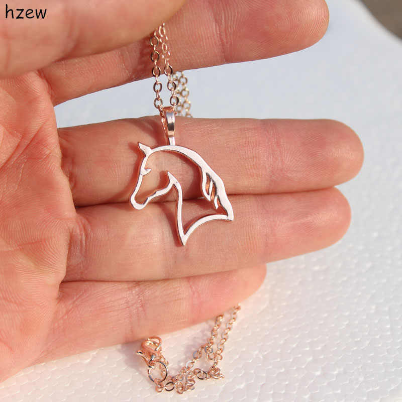 hzew Jewelry Simple Necklaces Horse Jewelry Pendant Necklace Zinc Alloy Horses Punk Necklace