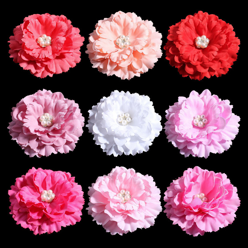 120pcs/lot 11CM 20 Colors Hair Clips Chic Shabby Artificial Shaped Fabric Hair Flowers With Decorative Button For DIY Headband
