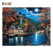RIHE Cottage Diy Painting By Numbers Abstract Moon Lake Oil On Canvas Cuadros Decoracion Acrylic Wall Picture For Room
