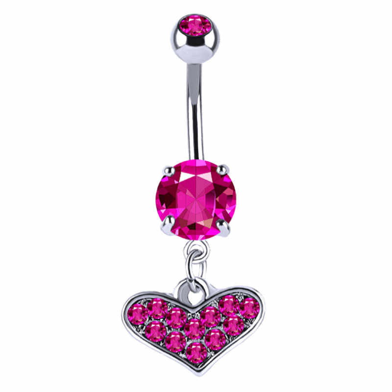 Hot Medical Stainless Steel Heart Piercing Belly Button Rings Pink Blue Crystal Sexy Body Piercing Navel Jewelry