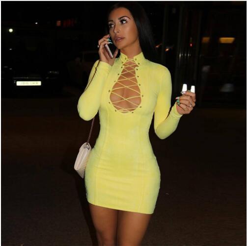 Sexy 2018 Gros up Évider Celebrity Longues Printemps Femmes De Manches Bandage Party Nouveau Robes Dentelle Soirée Robe En qCAwOq