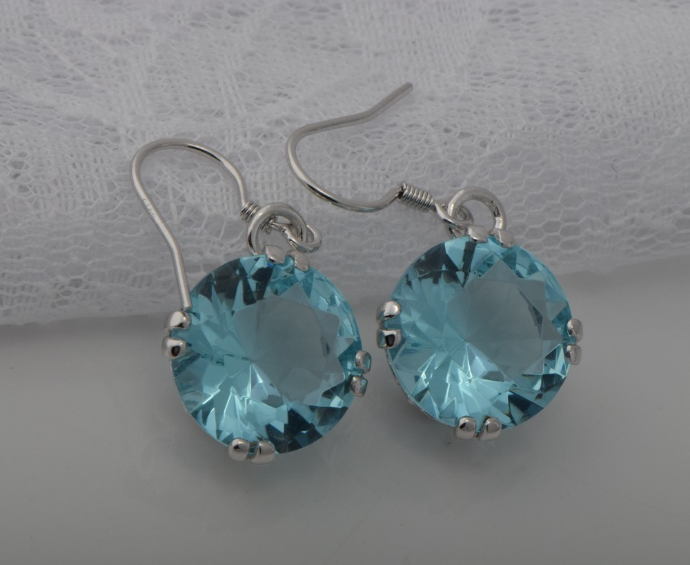 Free Shipping Unique Custom 925 Silver Oval Created Aquamarine Women 18 K White  Gold Wedding Earrings