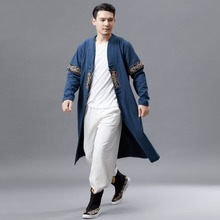 2019 Spring Autumn New Double Collar Long Sleeve T-shirt Mens Retro Fashion Long-style Chinese National Clothing Classic Design