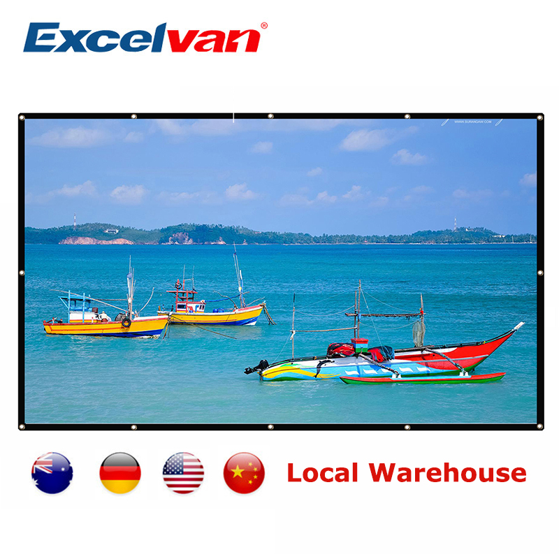 Excelvan 120 inch Projection Screen Portable Home Cinema Curtain 3D HD Video Beamer Screen Washable Canvas Wall Mounted Foldable