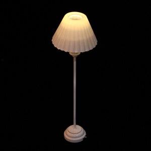 Image 4 - 1:12 1/6 maison de poupée Miniature décoration lampadaire LED modèle de lumière avec couvercle de lumière blanche