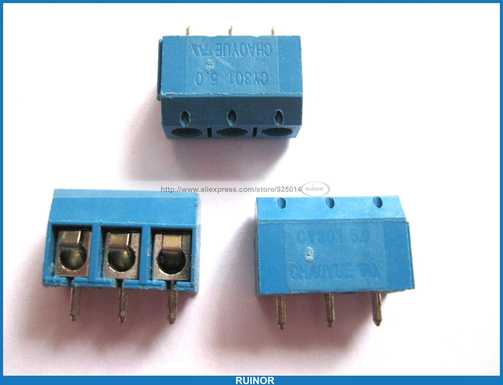 100 Pcs Blue 3 Pin Pitch 5 0mm Screw Terminal Block Connector CY301 5 pcs 400v 20a 7 position screw barrier terminal block bar connector replacement