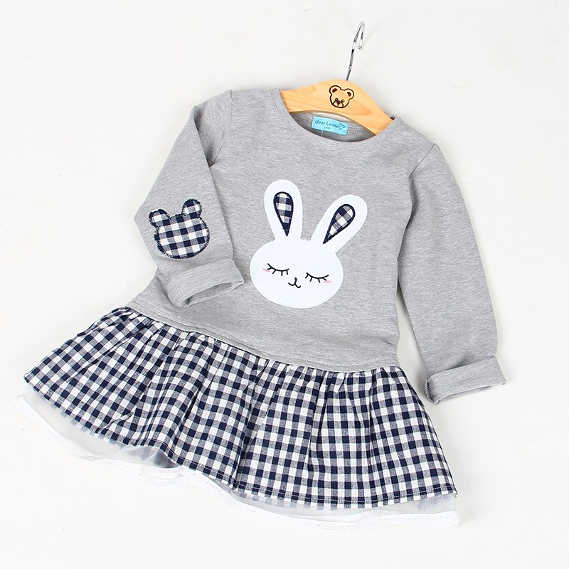 Bear Leader Girls Dress 2017 Spring Casual Style Baby Girl Clothes Long Sleeve Cartoon Bunny Print Plaid Dress for Kids Clothes 25