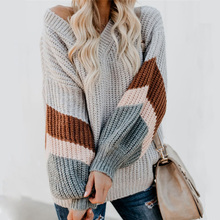 Autumn Winter Stripe Sweater Women Long Sleeved Warm Knitted Pullovers Sweaters Fashion  Loose Casual