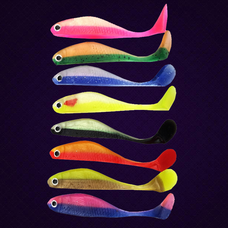 Fishing lure 4pc/lot fishing tackle soft bait 8 colors fishing lure Soft lures 4.4g 8cm Fishing bait  free shipping  156