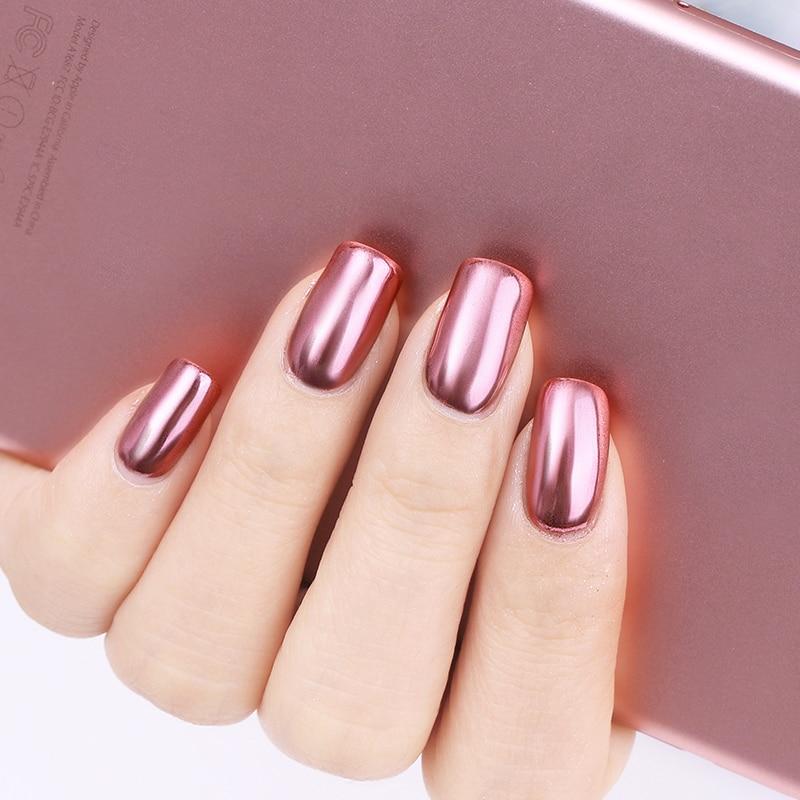 Rosa oro espejo u as brillo polvo gel esmalte cromo pigmento polvo brillante brillo manicura Polvo espejo unas