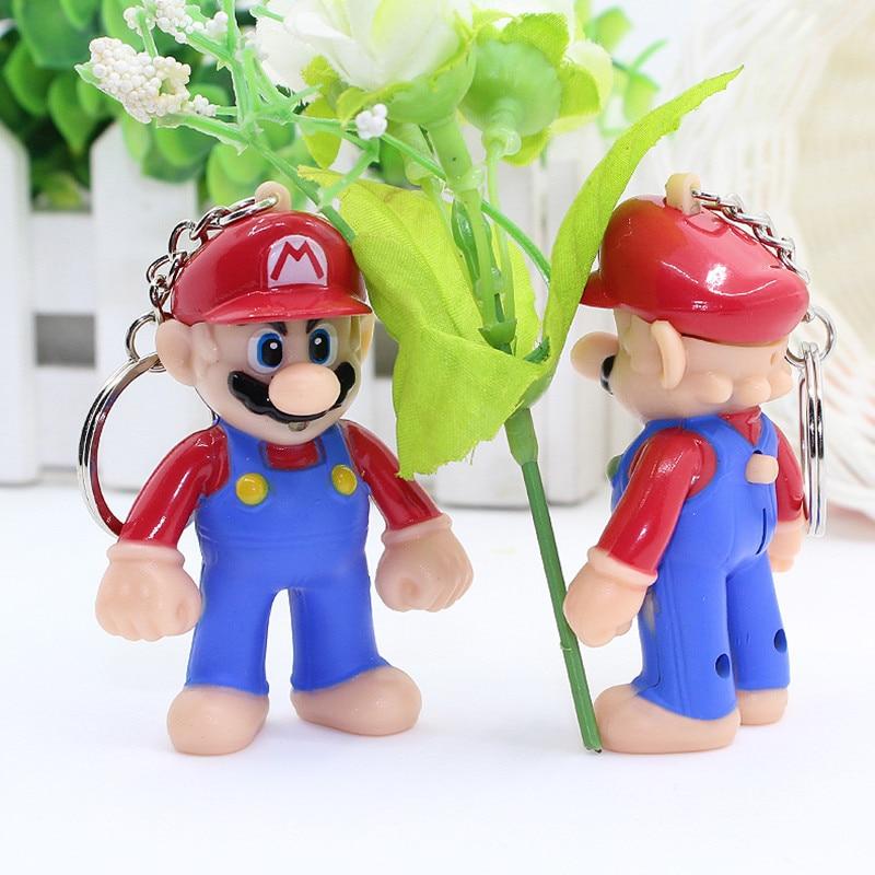 1pcs 2018 Super Mario Figures Light Sound Pvc Bros Keychains Collectible Model Toys