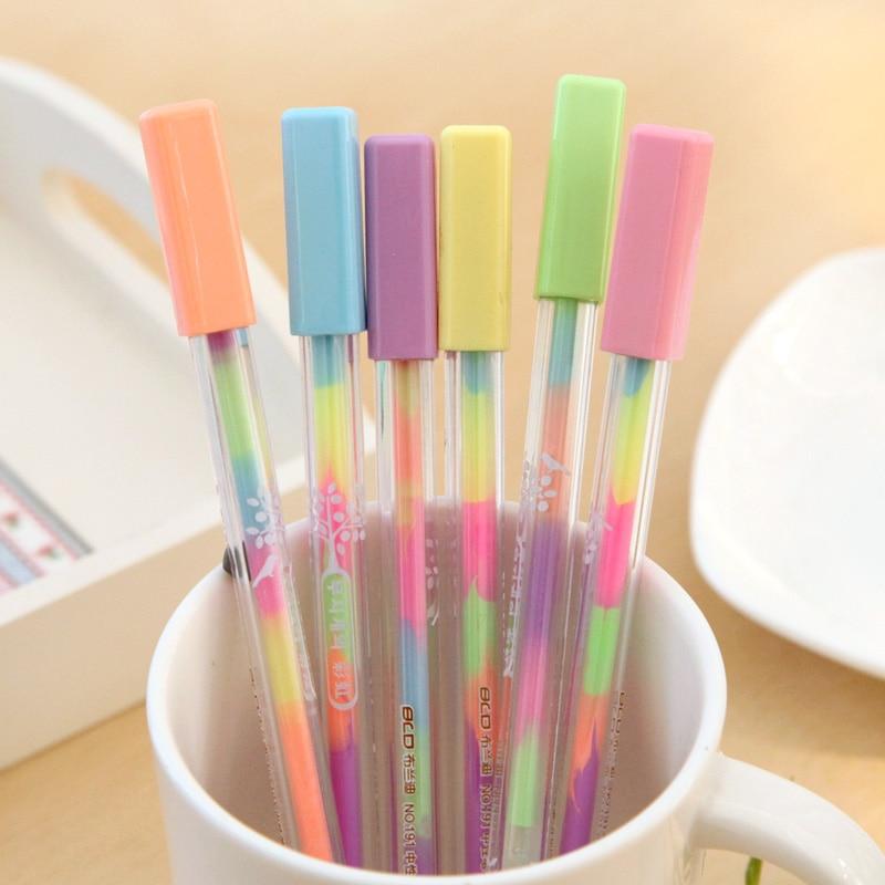 72 Pcs/Lot Rainbow Color Marker Pen For Black Paper Card Album 0.8mm Ballpoint Pens Scrapbook Stationery School Supplies FB555