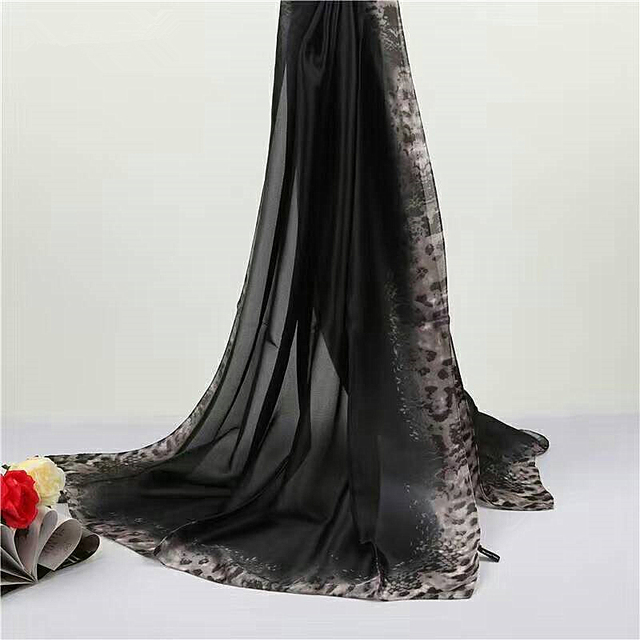 Leopard Side Silk Scarf | Lightweight Scarves