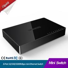 цена на 8 Port Gigabit Network Switch 8-port 10/100/1000Mbps Desktop Fast Ethernet Switcher lan hub Small and Smart mini 8 port switch