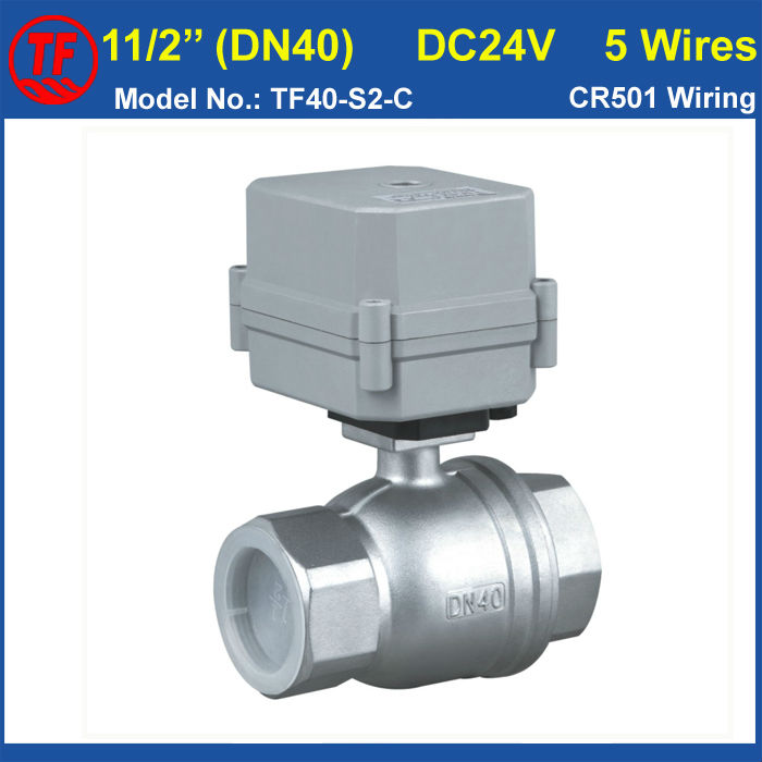っDC24V 5 Wires SS304 DN40 Full Port 2 Way Electric Actuator Valve ...