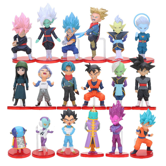6pcs/set WCF Dragon Ball Z Super Saiyan Son Gohan Goku Goten Majin Buu Vegeta Jaco Zeno Zamasu Action Figure Toy Set Dragonball