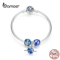 bamoer Enamel Blue Planet Pendant Charms Bracelets for Women Silver 925 Moon and Star Beads Summer Fashion Jewelry Gifts SCB826