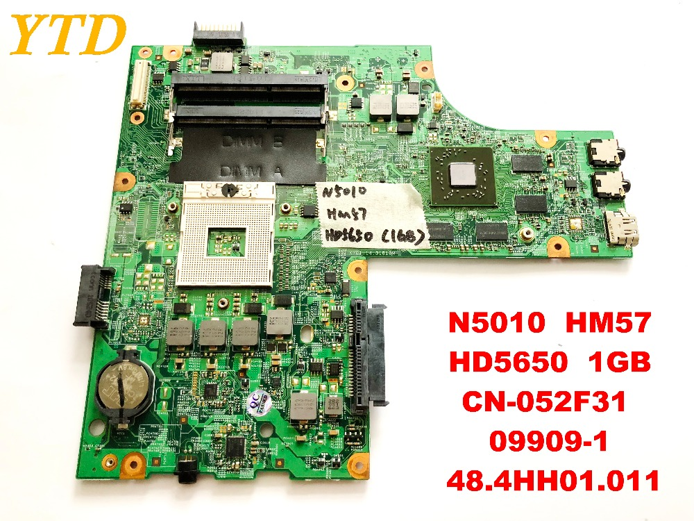 Original for <font><b>DELL</b></font> <font><b>N5010</b></font> laptop <font><b>motherboard</b></font> <font><b>N5010</b></font> HM57 HD5650 1GB CN-052F31 09909-1 48.4HH01.011 tested good free shipping image