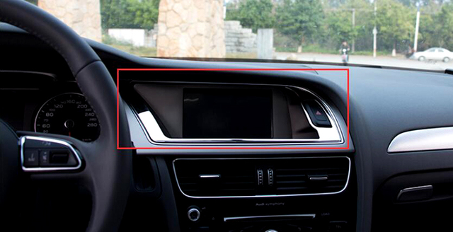 Instrument Panel Decorative Box Cover Stainless Steel For Audi A4 B8 2008  2015