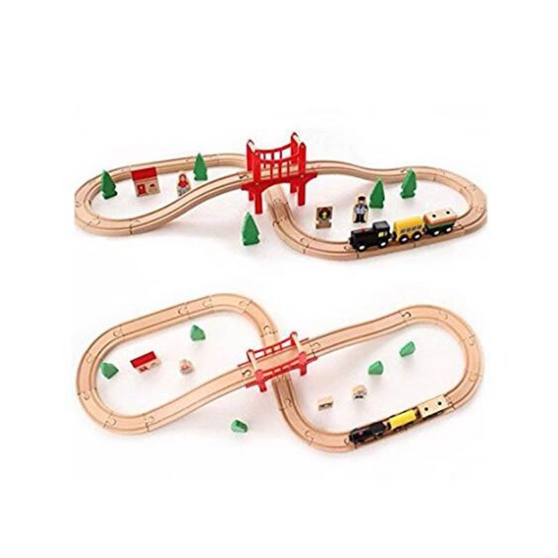 Jouets en bois 37 pièces blocs de construction Puzzle accessoires fabriqués à la main en bois Train Set Train ferroviaire jouets éducatifs pour les enfants