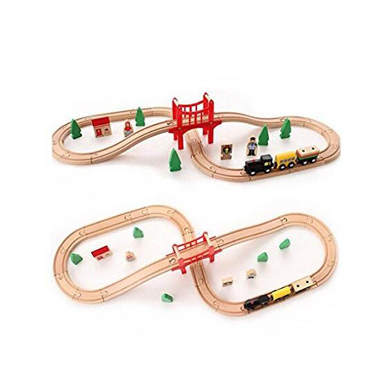 Wooden Toys 37PCS Building Blocks Puzzle Accessories Hand Crafted Wooden Train Set Railway Train Educational Toys for Children