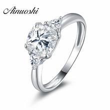 Кольцо из стерлингового серебра с тремя камнями квадратное Ювелирное кольцо Sona 925 пробы Серебряное обручальное кольцо для женщин обручальное кольцо
