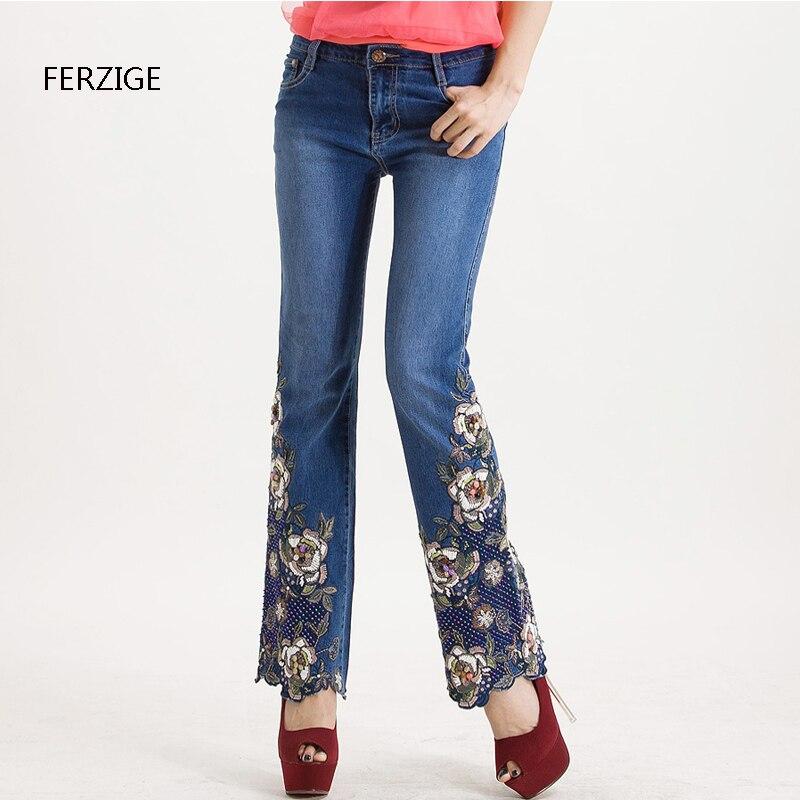 FERZIGE dżinsy kobiet wysokiej talii niebieski instrukcja haftowane flary spodnie koraliki ręcznie Bell Bottom Stretch Slim jeansowe damskie na co dzień mama dżinsy w Dżinsy od Odzież damska na  Grupa 1