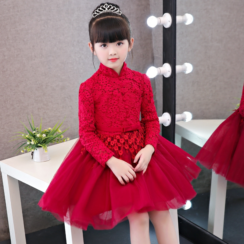 Fashion Toddler China Traditional Red Girls Christmas Long Sleeves Lace Dress Hollow Retro Kids Wedding Birthday Party Dresses beibehang papel de parede 3d victorian damask wallpaper roll tv background embossed flowers wall papers home decor living room