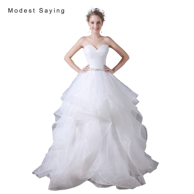 Ruffled Ball Gown Wedding Dress: Sexy White Ball Gown Sweetheart Ruffled Wedding Dresses
